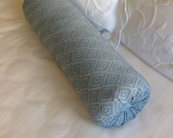 Blue woven bolster lumbar accent throw pillow 6x14 6x16 6x18 6x20 6x22