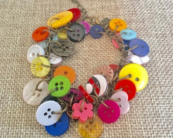 Multi Colored Button Bracelet, Upcycled Button Bracelet, Button Charm Bracelet, Repurposed Button Bracelet, Funky Button Bracelet