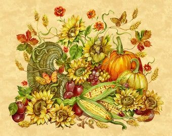Harvest Blessings Panel Deborah Edwards from Northcott Cotton Quilt Fabric 21161 12 Beige Autumn Leaves - By the Yard - Free shipping U.S.