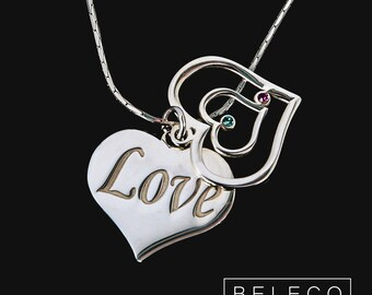 Heart Name Necklace, Personalized Heart Necklace, Personalized Heart Name Necklace, Customized Heart Name Necklace, Heart Birthstone Necklac
