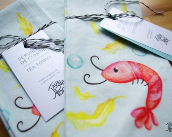 Tea towel to wipe the dishes, created from my illustrations of watercolor shrimp, made in quebec. For an original kitchen decor!