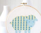 Modern Cross Stitch Pattern PDF, Sheep in Blue and Green, Nursery Decor, Baby Gift, Easy beginner cross stitch pattern
