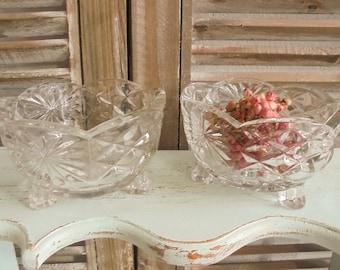 Vintage pair 2 Stck.Pressglas cups glass bowl of chocolates