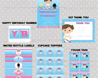 Space Party  party printables | Girls Birthday invitation | Invite Thank you Favor tags | digital files | Digital download | Star party