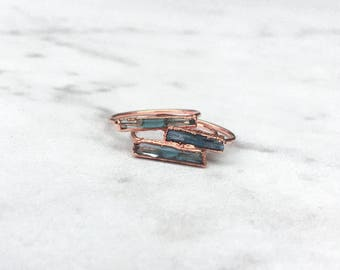 Raw Aquamarine Ring, Rose Gold Ring, Rings for Women, Statement Ring, Gemstone Ring, Stacking Rings, Boho Ring, Raw Crystal Ring, Birthstone