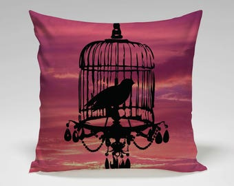 Bird Cage Pillow  | Sunset Bird  | Pillow Cover and Fill Included | Pillow LA | Made in USA | 172FLGF1616K