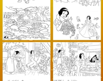 Coloring activity sheets. Snow White coloring sheets for boys and girls. INSTANT DOWNLOAD