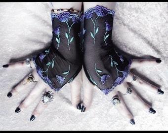 Lucrece Long Lace Fingerless Gloves - Black Purple Lavender Violet Green Floral - Gothic Vampire Wedding Fetish Dark Tribal Bellydance Goth