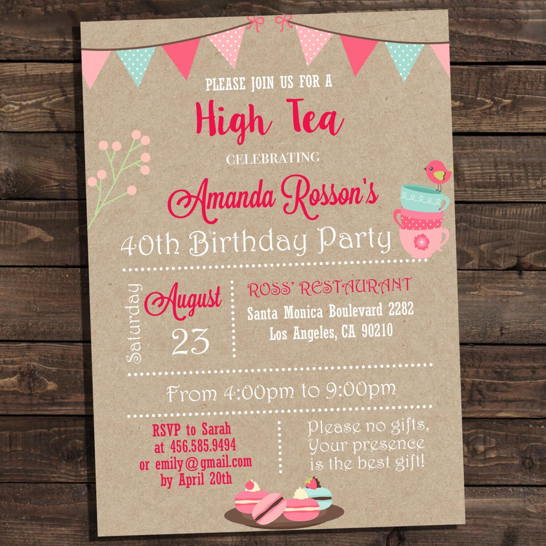 Vintage shabby chic high tea party invitations printable