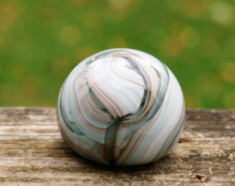 Vintage Unique Art Glass Paperweight with Striations of Colorful Swirls and Bands Throughout