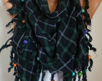 Plaid Cotton Scarf  Christmas Gift Fall Winter Fashion Tartan Scarf Tassel Scarf Shawl Cowl  Gift Ideas For Her Women Fashion Accessories