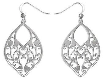 Fancy Laser-Cut Oval Hook-in Drop sterling Silver Earrings