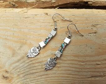 With liberty fabric Kayoko khaki silver OWL earrings / pink / turquoise