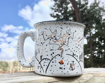 FREE SHIPPING - Campfire Nights mug - camping campfire wilderness mountain constellation