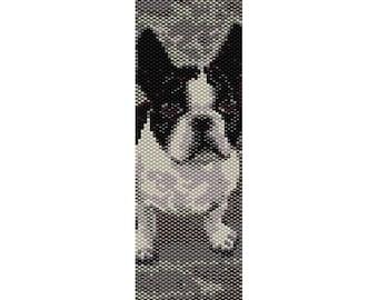 French Bulldog Peyote Bead Pattern, Bracelet Cuff, Bookmark, Seed Beading Pattern Miyuki Delica Size 11 Beads - PDF Instant Download