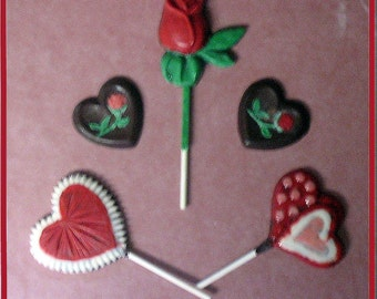 Valentine Molded Rose and Heart Chocolates - painted