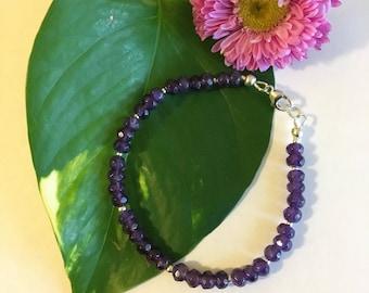 Amethyst Bracelet Handmade Purple Gemstone Dainty Office Bracelet February Birthstone Amethyst Jewelry Elegant Stacking Bracelet