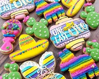 One last Ole cookies. Bacherlorette cookies. Fiesta cookies. Customizable fiesta cookies.