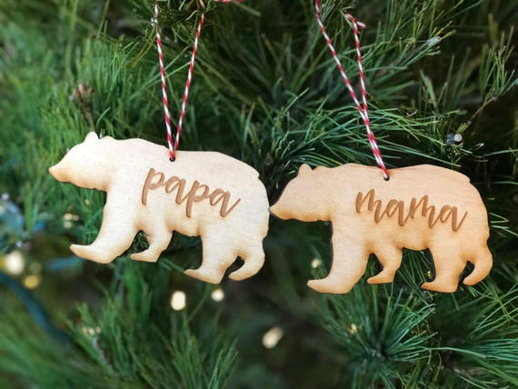 Papa Bear and Mama Bear Ornaments