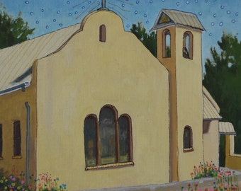 """Original Oil Painting, size 12""""x12"""", titled """"The Other Church"""""""