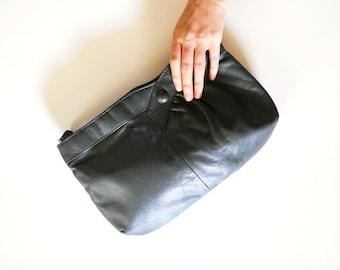 Vintage Dark Grey Large Leather Clutch Organizer Purse