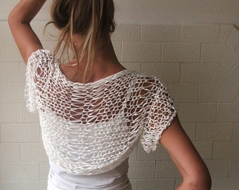white shrug  short sleeved / loose knit  bamboo hand knit wedding shrug