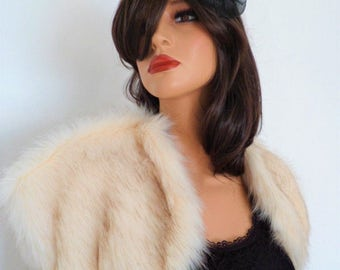 champagne fur bolero, cream fur wrap, cream faux fur, bridal shrug, brown tint, shawl, stole