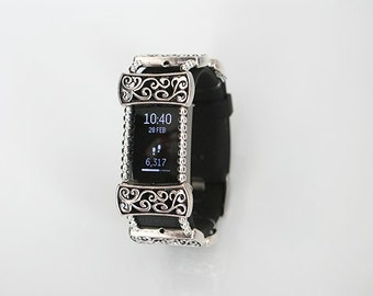 Unique Handmade Silver Tone Fitness Bracelet Wrap Cover Fits Fitbit Charge 2 Other Bands
