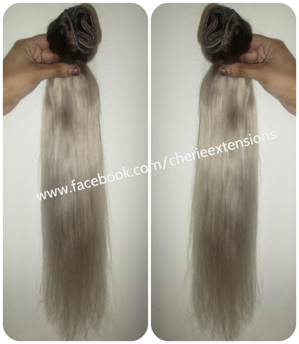 Colour 3 Ash Brown Silver Grey White Hair Extensions Dip Dye