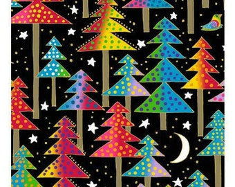 NEW Laurel Burch Fabric Enchantment Trees on Black 1 Yard Y1969-3M