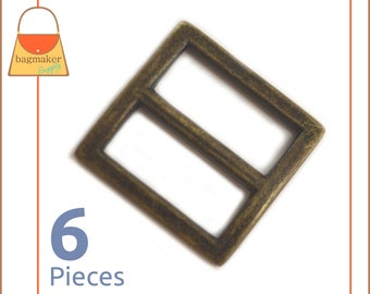"3/4 Inch Center Bar Slide Purse Strap Slider Buckle, Antique Brass / Bronze , 6 Pieces, Handbag Bag Making Hardware, .75"", BKS-AA068"