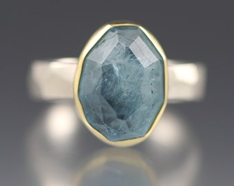 SALE  - Rose Cut Aquamarine Chiseled Ring - Faceted Band