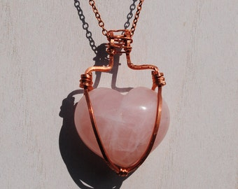 Rose Quartz Heart Pendant in 99.9% Pure Copper