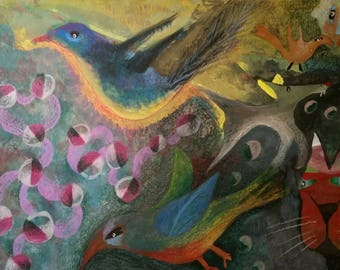 Blue Birds of Happiness: Gouache, color pencil, color mat board, unframed, original painting
