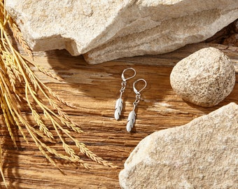 Silver Feather Earrings | Boho Bohemian Nature | Woodlands Collection