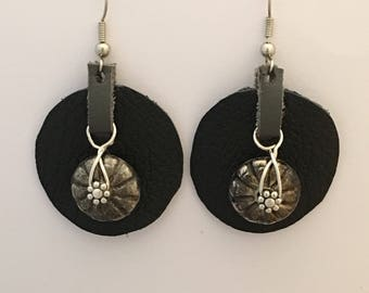 Drop Earrings of Black & Gray Leather, Mexican and Tibetan Silver, Perfect Gift, BFF, Birthday