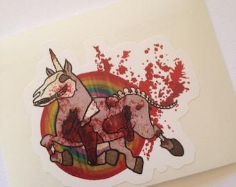 Zombie Unicorn Vinyl Sticker Decal