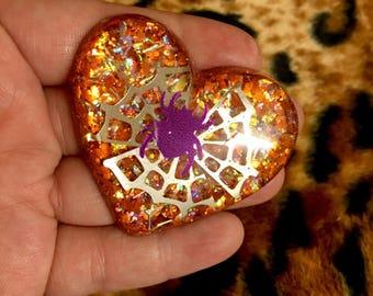 Halloween spider web orange glitter brooch