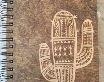 Saguaro Cactus Etched Wooden Notebook