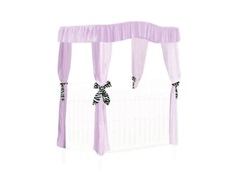 CRIB SIZE Solid Lavender Canopy Bed Fabric Top with Princess Drapes and Zebra Ribbon Ties