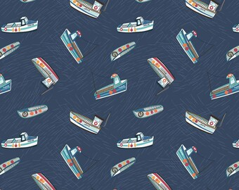 Fishing boats on navy blue from the Harbourside range by Lewis & Irene