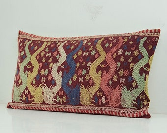 """RARE VINTAGE Hand Woven Hemp Organic Patch Work Embroidered Textile Ethnic Piece Of Tradition Costume maroon Lumbar Pillow Case 14"""" x 25"""""""