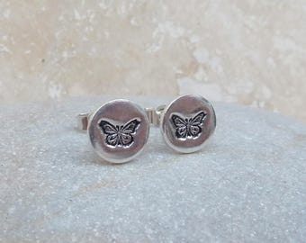 Fine Silver Butterfly Stud Earrings - STUD070 - Round, Stamped, Detail, Pattern, Gift, Handmade, Jewellery, For Her