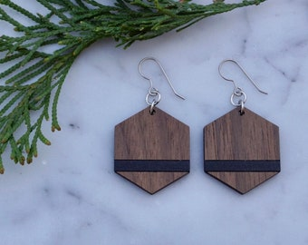 Wood Hexagon Earrings with Black Accent - Engraved and Hand Painted