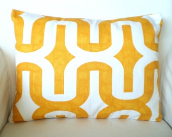 Yellow Pillow Cover, Throw Pillow, Cushion Cover, Lumbar Corn Yellow and White Embrace, Lumbar Cushion, Couch Bed Sofa, 12 x 16 or 12 x 18