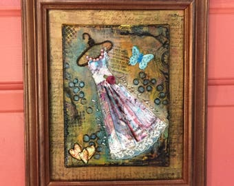 Mixed Media Painting  Beautiful Girl - Mixed Media Art -  Wall Art - Textured - 3D- Hanging Dress - Framed Wall Art -  Ready to Hang