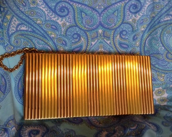 Evans  two tone rose and gold  compact carryall cigarette case purse