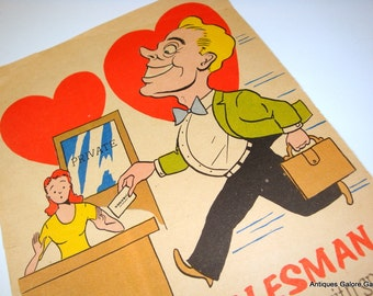 Vintage Valentine, Comic, Super Salesman, Tablet Valentine, Red Hearts, Valentines Day