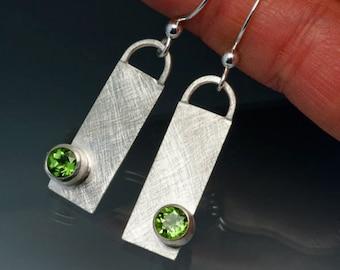 Sterling Silver Peridot Dangle Earrings