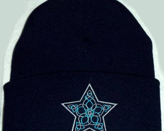 Hidden Pentacle Star Celtic Knot Beanie Hat Embroidery Wiccan Pagan wiccan clothing